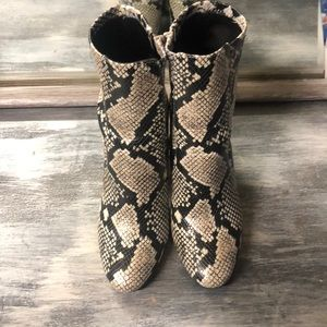 Snake print ankle boots with chunky heels